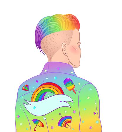 short shaved pixie undercut. Rainbow LGBT symbols as pins or patches on her back.