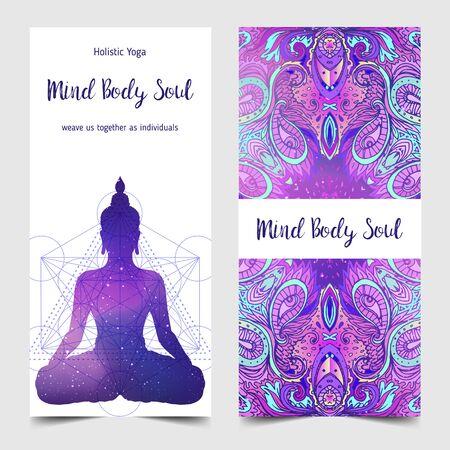 Colorful template for spiritual retreat or yoga studio.  イラスト・ベクター素材