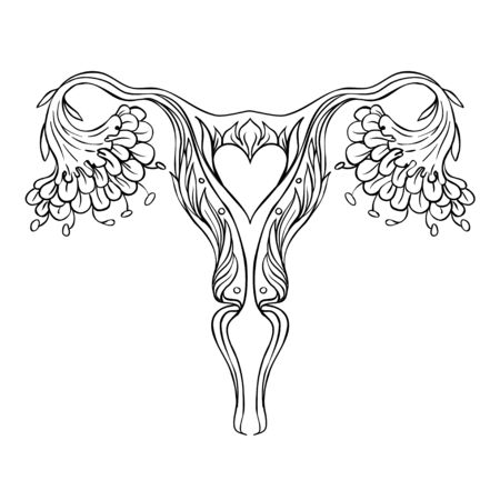 Decorative drawing of female reproductive system with flowers