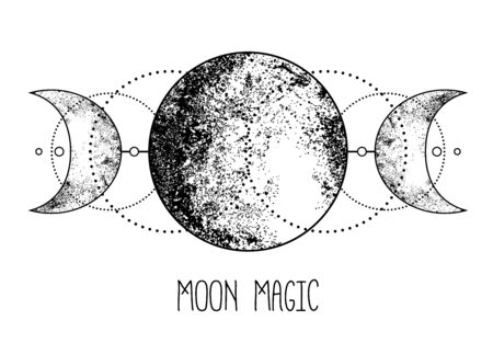 Triple moon pagan Wicca moon goddess symbol.