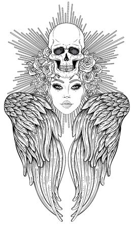 Angel girl with wings and halo