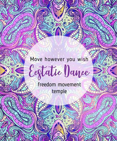 True Love. Yoga card design. Colorful template for spiritual retreat or yoga studio.