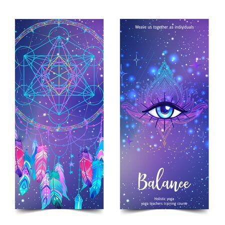 Colorful template for spiritual retreat or yoga studio. Illustration