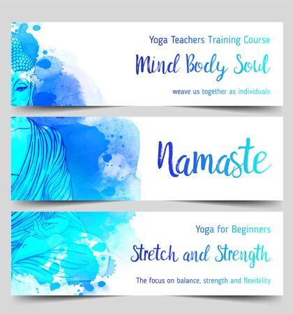 Bunte Vorlage für spirituellen Rückzug oder Yoga-Studio.