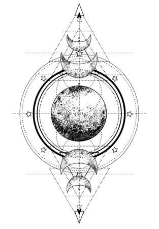 Dreifaches Mondsymbol der heidnischen Wicca-Mondgöttin.