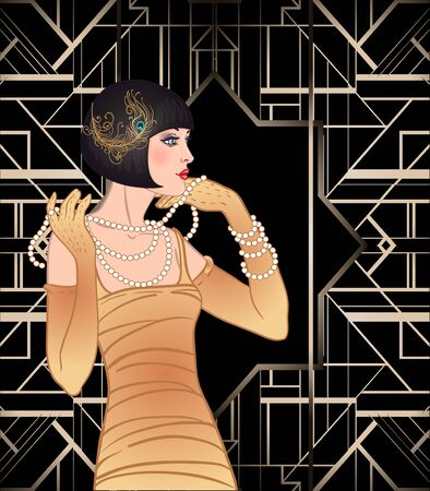 Disegno del modello di invito vintage Art Déco con della ragazza flapper.