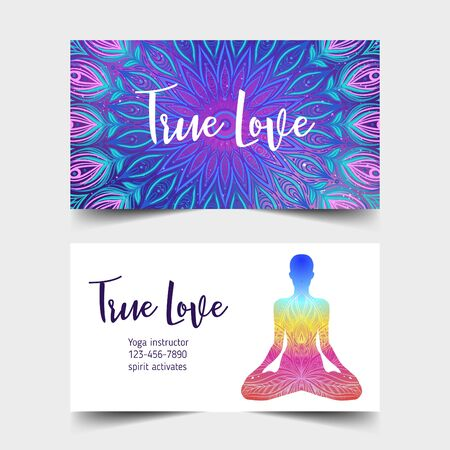 Colorful template for spiritual retreat or yoga studio. Ilustração