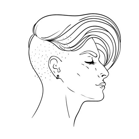 Portrait of a young pretty woman with side shaved hair Illustration