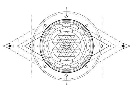 The Sri Yantra or Sri Chakra, form of mystical diagram,