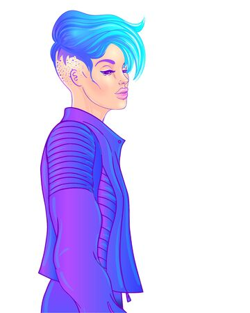 Portrait of a young pretty androgynous woman with short shaved pixie undercut in retro futurism style.