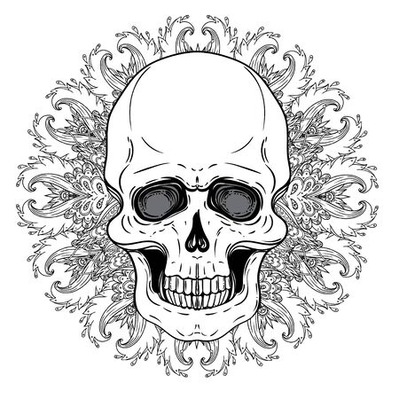 Human Skull and Lotus over Mandala inspired Sacred Geometry. Illustration