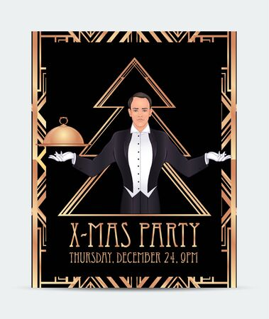Art Deco vintage invitation template design with   of man. Archivio Fotografico - 129548751
