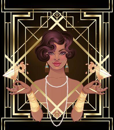 Mode rétro : fille glamour des années vingt (femme afro-américaine). Illustration vectorielle. Flapper style années 20. Modèle de conception d'invitation de fête vintage. Dame noire de fantaisie.