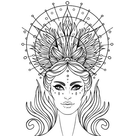 Lady of Sorrow. Devotion to the Immaculate Heart of Blessed Virgin Mary, Queen of Heaven. Vector illustration over halo or ornate mandala isolated. Hand-drawn, religion, spirituality, occultism. Ilustração