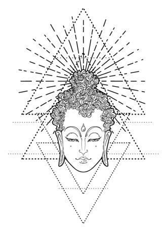Buddha Gesicht über verziertem Mandala rundes Muster. Esoterische Weinlesevektorillustration. Inder, Buddhismus, spirituelle Kunst. Hippie Tattoo, Spiritualität, Thai Gott, Yoga Zen Malbuchseiten für Erwachsene.