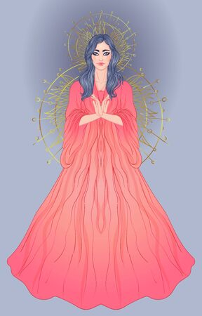 Lady of Sorrow. Devotion to the Immaculate Heart of Blessed Virgin Mary, Queen of Heaven. Vector illustration over halo or ornate mandala isolated. Hand-drawn, religion, spirituality, occultism. 일러스트