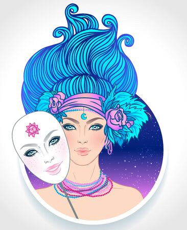 Illustration of Gemini astrological sign as beautiful girl with a mask. Zodiac vector illustration isolated on white. Future telling, horoscope, alchemy, spirituality, occultism, fashion woman.