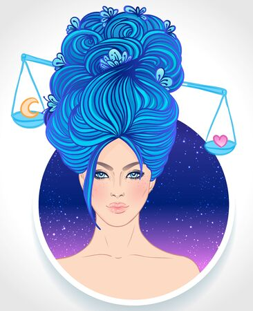 Illustration of Libra astrological sign as a beautiful girl. Zodiac vector illustration isolated on white. Future telling, horoscope, alchemy, spirituality, occultism, fashion woman.