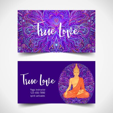 Yoga card, flyer, poster, mat design. Colorful neon template for spiritual retreat or yoga studio. Ornamental business cards, oriental pattern. Vector illustration. Sticker, patch, 60s hippie art.