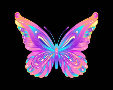 Hand drawn butterfly in bright neon colors. Han drawing design for t-shirt print or tattoo. Isolated vector illustration. Archivio Fotografico - 138425538