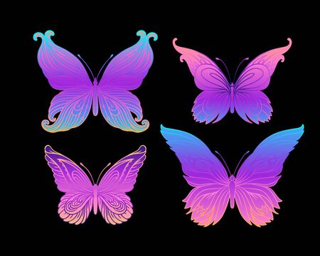 Hand drawn butterfly in bright neon colors. Han drawing design for t-shirt print or tattoo. Isolated vector illustration. Archivio Fotografico - 138425539