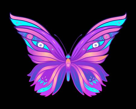 Hand drawn butterfly in bright neon colors. Han drawing design for t-shirt print or tattoo. Isolated vector illustration. Archivio Fotografico - 138425541