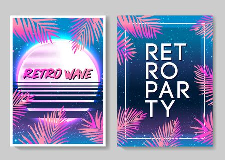 Retro Futurism flyer set. Vector futuristic synth wave illustration. 80s Retro poster Background. Good design for poster, t-shirt print design and poster background. Futuristic vector illustration in bright neon colors. Vector Illustration
