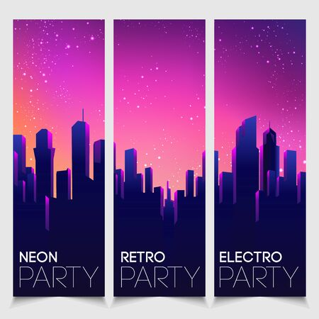 Rave party Flyer design template set in 1980s style. Retro Futurism. Vector futuristic synth wave illustration. 80s Retro poster Background with Night City Skyline. Illusztráció