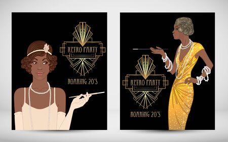 Mode rétro. fille glamour des années vingt. femme afro-américaine. Illustration vectorielle. Modèle de conception d'invitation de fête vintage. Dame noire de fantaisie. Vecteurs