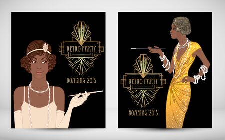 Retro fashion. glamour girl of twenties. African American woman. Vector illustration. Vintage party invitation design template. Fancy black lady. Vector Illustration