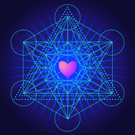 Metatrons Cube, Flower of life with heart. Sacred geometry abstract background. Good design for textile t-shirt print, flyer and poster background. Futuristic vector illustration in bright neon colors