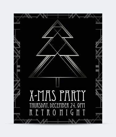 Christmas greeting card background in 1920s art deco geometric style. Black and silver. Good for retro parties designs. Banque d'images - 138186616