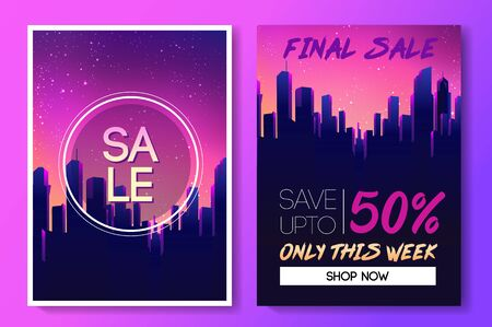 Sale coupon design template in 1980s style. Retro Futurism. Vector futuristic synth wave illustration. 80s Retro poster Background with. Party Flyer.