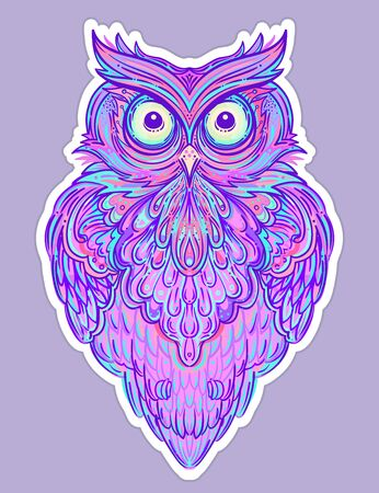 Cute abstract owl and psychedelic ornate pattern. Character tattoo design for pet lovers, artwork for print, textiles. Detailed vector illustration. Totem animal. Vektorové ilustrace