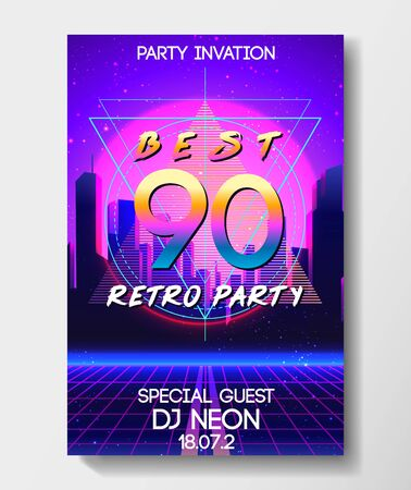 Retro Futurism flyer set. Vector futuristic synth wave illustration. 80s Retro poster Background. Good design for poster, t-shirt print design and poster background. Futuristic vector illustration in bright neon colors.