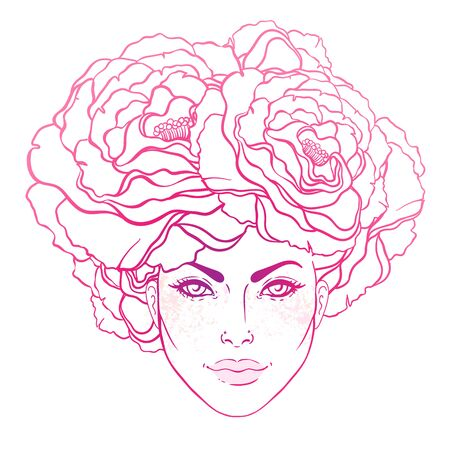 Pretty young girl with peonies in her hair. Hand drawn vector fashion illustration in pink color. Female portrait of magic floral fairy. Fantasy, Beauty, fashion, tattoo design.