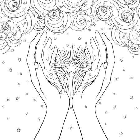 Female hands open around magic star. New World Order. Hand-drawn alchemy, religion, spirituality, occultism. Vector illustration in hipster style isolated.  イラスト・ベクター素材