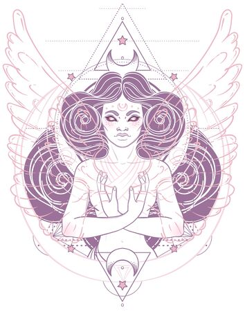 African American magic woman holding all seeing eye with rays. Vector Illustration. Mysterious black girl over sacred geometry symbols and wings. Alchemy, religion, spirituality, occultism, tattoo art Ilustração