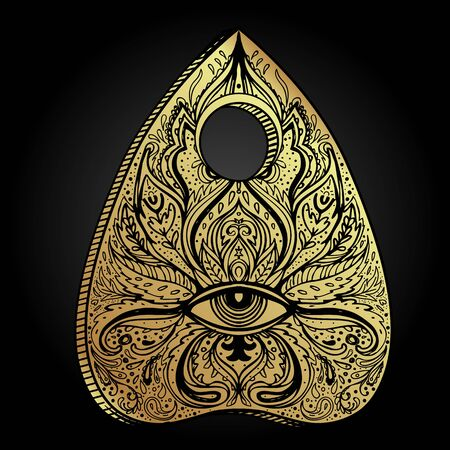 Heart-shaped planchette for spirit talking board. Vector isolated illustration in Victorian style. Mediumship divination equipment. flash tattoo drawing. Alchemy, religion, spirituality, occultism.