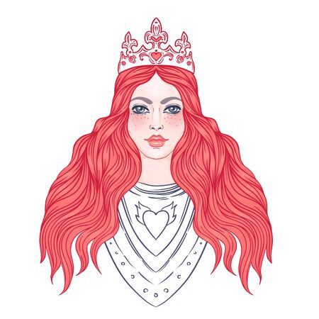 Portrait of beautiful girl with a crown. Female knight in armour. Vector illustration. Medieval aesthetics. Girl power. Joan of Arc inspired. Sticker, patch, t-shirt print