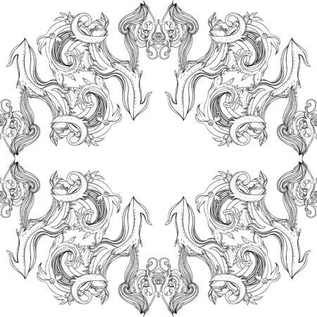 Ornamento senza giunte di paisley floreale della Boemia di loto ornamentale in bianco e nero di vettore. Modello di stile del tatuaggio all'hennè popolare. Stile indiano. Carta da parati vettoriale ornato d'epoca. Astrologia, alchimia, spirito, magia. Vettoriali