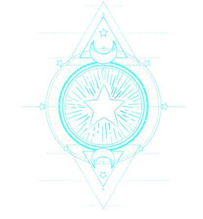 Star frame. Sacred Geometry. Ayurveda symbol of harmony and balance, and universe. Tattoo flesh design. Boho print, poster, t-shirt textile. Anti stress book. Isolated vector illustration.  イラスト・ベクター素材
