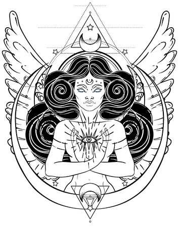 Femme magique afro-américaine tenant tout œil voyant avec des rayons. Illustration vectorielle. Mystérieuse fille noire sur les symboles et les ailes de la géométrie sacrée. Alchimie, religion, spiritualité, occultisme, art du tatouage Vecteurs