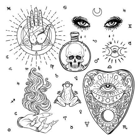 Witchcraft set of vector isolated illustrations in Victorian style. Hand, planchette, skull, eyes. Mediumship divination equipment. flash tattoo drawing. Alchemy, religion, spirituality, occultism.