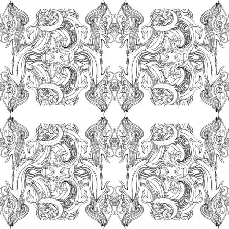 Vector black and white ornamental Lotus Bohemian floral paisley seamless ornament. Folk henna tattoo style pattern. Indian style. Vintage ornate vector wallpaper. Astrology, alchemy, spirit, magic.