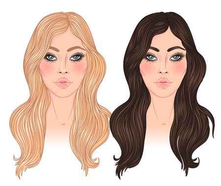 Two vector woman, blonde and brunette with long hair isolated on white. Young Caucasian girls. Can be used as a face chart or for hairdressers. Ilustracja