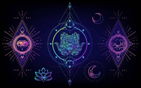 Sacred Geometry and Boo symbol set. Ayurveda sign of harmony and balance. Tattoo design, poster, t-shirt textile. Colorful rainbow gradient over black. Astrology, esoteric, religion. .
