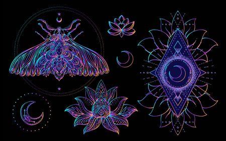 Ensemble de symboles de géométrie sacrée et de Boo. Ayurveda signe d'harmonie et d'équilibre. Conception de tatouage. affiche, t-shirt textile. Dégradé arc-en-ciel coloré sur noir. Astrologie, ésotérique, religion.