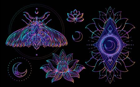 Heilige Geometrie und Boo-Symbolsatz. Ayurveda-Zeichen für Harmonie und Ausgeglichenheit. Tattoo-Design. Poster, T-Shirt Textil. Bunte Regenbogensteigung über Schwarzem. Astrologie, Esoterik, Religion.