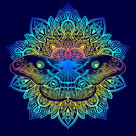 Moth over mandala. Beautiful vintage round pattern. Vector illustration. Psychedelic neon composition.
